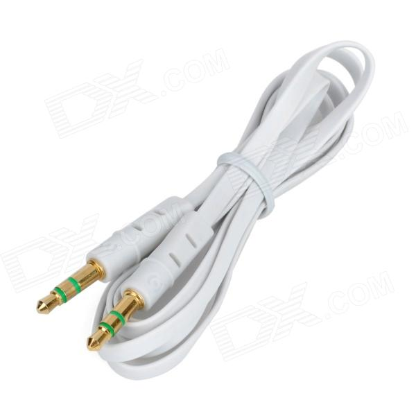 24K Gold-plated 3.5mm Male to Male Flat Audio Connection Cable - White (100cm)  hifi mps x 702r hifi 99 9997% occ 24k rhodium plated plug rca audio cable dvd cd dac amplifier audio cable