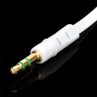 24K Gold-plated 3.5mm Male to Male Flat Audio Connection Cable - White (100cm)