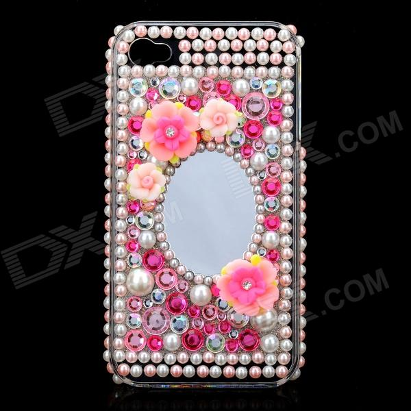 Acrylic Diamond Protective Back Case w/ Mirror for Iphone 4 / 4S - Transparent + Pink butterfly bling diamond case