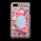 Acrylic Diamond Protective Back Case w/ Mirror for iPhone 4 / 4S - Transparent + Pink