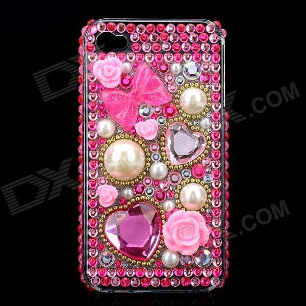 Acrylic Diamond Protective Back Case for Iphone 4 / 4S - Transparent + Pink butterfly style protective plastic back case for iphone 4 4s deep pink transparent white