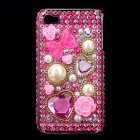 Acrylic Diamond Protective Back Case for Iphone 4 / 4S - Transparent + Pink