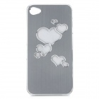 Heart Patten Protective Aluminum Alloy Back Case w/ RGB LED for Iphone 4 / 4S - Silver (1 x CR2016)