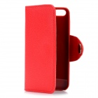 Protective Plastic Case w/ Flip Open PU Leather Cover / Card Slots for Iphone 5 - Red