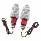 DIY Motorcycle Decoration 12-LED Red Turn Lights - Red + White (2 PCS)
