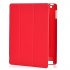 Protective PC Case w/ PU Leather Cover for Ipad 2 / The New Ipad - Red