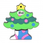 Colorful Christmas Tree Style USB 2.0 Flash Drive - Green (8GB)