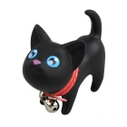 Cute Cartoon Cat Toy w/ 360 Degrees Rotating Head & Keychain - Black