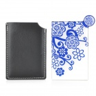 Plum Flower Pattern Stainless Steel Cosmetic Mirror w/ Case - Blue + White (9.3 x 5.3cm)