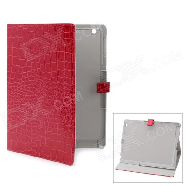 Crocodile Grain Pattern Protective PU Ledertasche für iPad 2 - Red