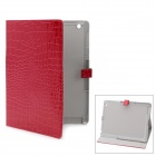 Crocodile Grain Pattern Protective PU Leather Case for iPad 2 - Red