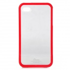 Detachable Protective Plastic Back Case for iPhone 4 / 4S - Red + Transparent