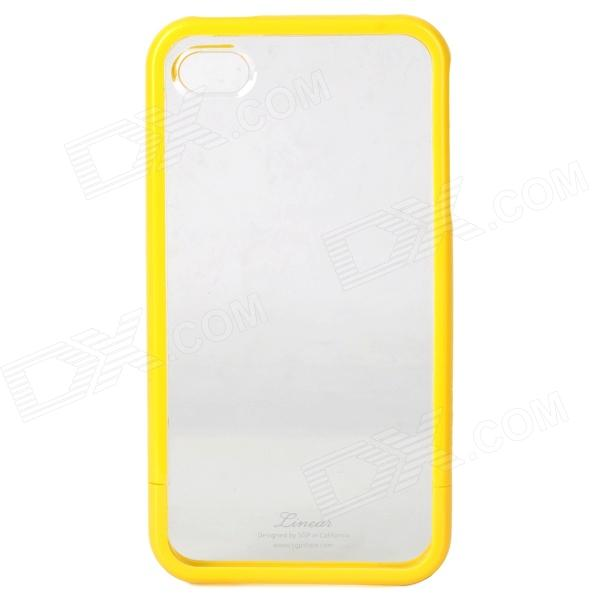 Detachable Protective Plastic Back Case for iPhone 4 / 4S - Yellow + Transparent
