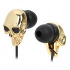 Stylish Skull Head In-Ear Earphone - Black + Golden (3.5mm Plug / 120cm)
