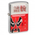HOLI Stainless Steel Beijing Opera Mask Oil Lighter - Red + White