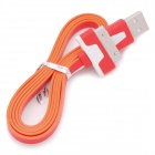 Flat USB Sync Data / Charging Cable for iPhone / iPad / iPod - Red + Orange