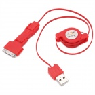 3-in-1 USB-Stecker an Mini USB + Micro USB + Apple 30-Pin Laden / Data Retractable Cable - Red