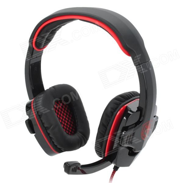 SADES SA-901 USB 2.0 Headphone w/ Microphone - Black + Red (270cm) vykon me777 usb computer headphone w microphone black red