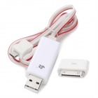 USB Male to Apple 30-Pin / Micro USB Adapter Charging Cable with LED - White