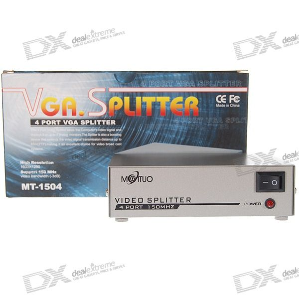 150Mhz 4-Port Power Amplified VGA Splitter (1600*1280 Max / 100V~240V AC)A/V Adapters &amp; Converters<br>Model: MT-1504 - Perfect for multi-monitor presenations monitor demostrations etc - Works for LCD CRT TV (with VGA input) and projectors - 2-port amplified VGA splitter - Powered amplified so that all monitors will receive strong signal and thus clear pictures - 150MHz bandwidth (manufacturer rated) - 1600 x 1280 px maximum resolution - 100V~240V AC adapter included<br>