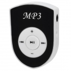 Rechargeable Clip-On Screen Free MP3 Player w/ TF Slot / 3.5mm Jack - Black + White