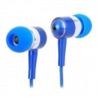 Moskye-L-B Zipper Style Stereo Hi-Fi In-Ear Earphone - Blue (3.5mm Plug / 148cm-Cable)