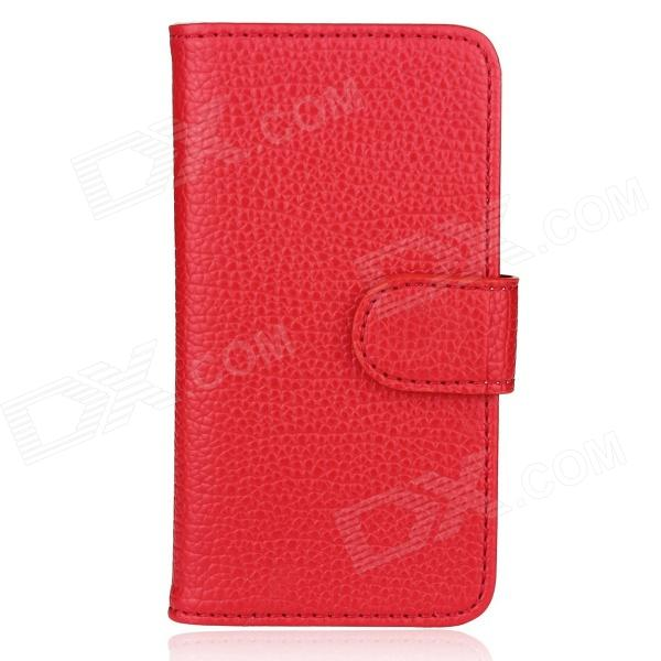 Flip-Open Wallet Style Protective PU Leather Case for Iphone 5 - Red solid color litchi pattern wallet style front buckle flip pu leather case with card slots for doogee x10