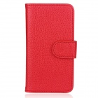 Flip-Open Wallet Style Protective PU Leather Case for Iphone 5 - Red