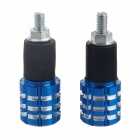 DIY Motorrad Aluminum Alloy Non-Slip Anti-Drop-Handle Cap - Blue + Black + Silver (2 PCS)