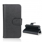 Flip-Open Wallet Style Protective PU Leather Case for iPhone 5 - Black