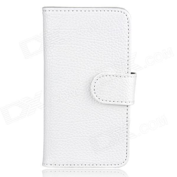 Flip-Open Wallet Style Protective PU Leather Case for Iphone 5 - White pu leather folding wallet credit card case for iphone se 5s 5 white