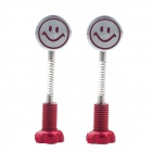 Cute DIY Motorcycle Spring Smile Face Dummy Rearview Mirror - Red + Silver (2 PCS)