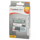 Solar Powered 12-Digit LCD Pocket Calculator - Silver + Black (1 x 389A)