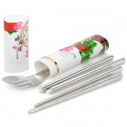 Paeonia Suffruticosa Pattern 3-in-1 Fork + Spoon + Chopsticks Set w/ Chinoiserie Case - Silver