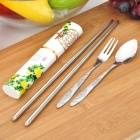 Chrysanthemum Pattern Portable 3-in-1 Fork + Spoon + Chopsticks Set w/ Chinoiserie Case - Silver