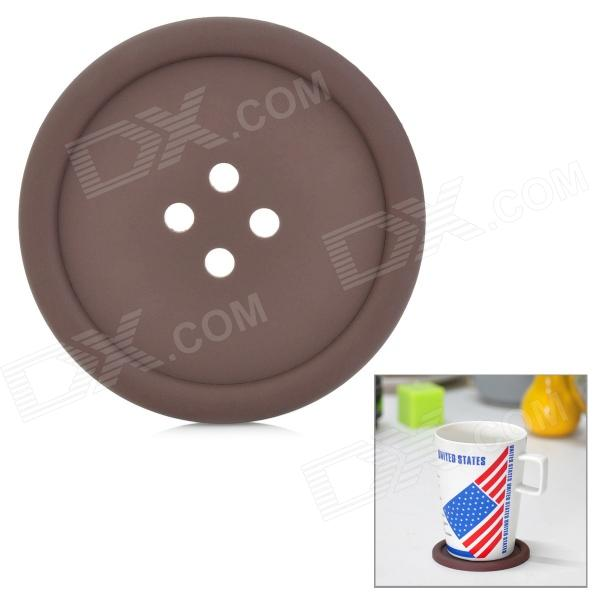 Button Style Silicone Coaster - Brown