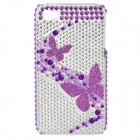Protective Back Case with Acrylic Diamond for Iphone 4 / 4S - Purple + Transparent