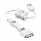 USB to Micro USB + Mini USB + Apple 30-Pin / Samsung Galaxy Tab 30-Pin Data Charging Cable - White