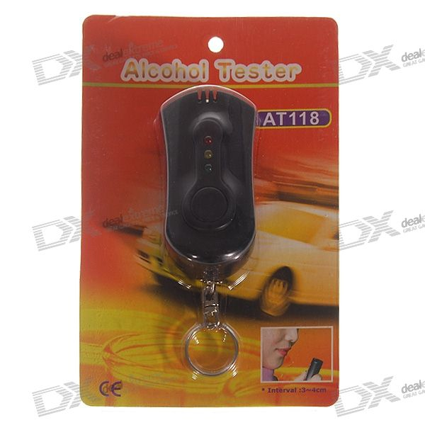 AT118 LED Alcohol Tester Breathalyzer Keychain (0.20% BAC Max)