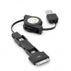 USB to Micro USB + Mini USB + Apple 30-Pin / Samsung Galaxy Tab 30-Pin Data Charging Cable - Black