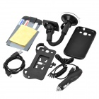 6-in-1 Protective Kit + Car Mount Holder + Car Charger for Samsung Galaxy S3 i9300 - Black