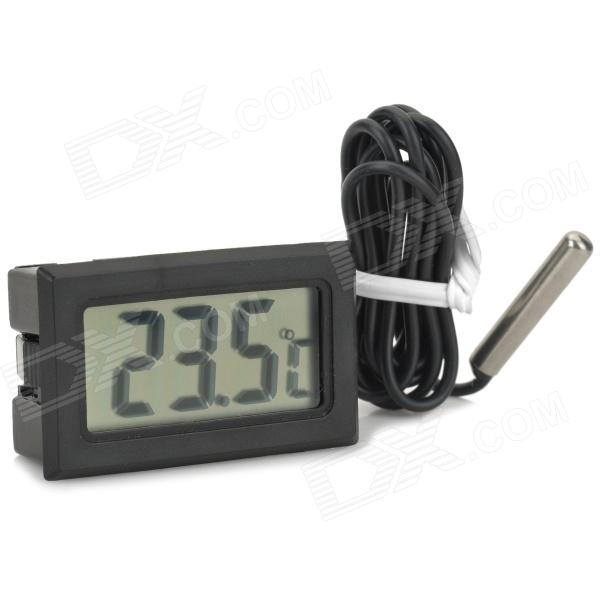 Digital Compact LCD Thermometer with Outdoors Remote Sensor - Black