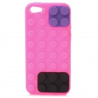 Protective Brick Style Silicone Soft Back Case for iPhone 5 - Pink + Black + Purple