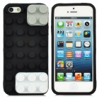 Protective Brick Style Silicone Soft Back Case for iPhone 5 - White + Black + Grey
