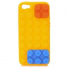 Protective Brick Style Silicone Soft Back Case for iPhone 5 - Yellow + Blue + Orange