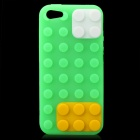 Protective Brick Style Silicone Soft Back Case for iPhone 5 - Green + Yellow + White