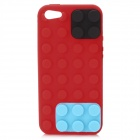 Protective Brick Style Silicone Soft Back Case for iPhone 5 - Red + Blue + Black