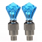 DIY Blue LED Flashing Motorcycle/Car Tire Air Valve Sealing Cap - Silver + Blue (3 x SR1130 / Pair)
