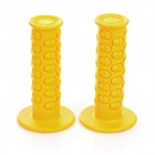 Universal Motorcycle Racing Skeletal Head Rubber Handlebar Grips - Orange (1 Pair)