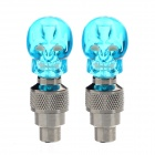 DIY Skull Blue LED Flashing Motorcycle/Car Tire Air Valve Sealing Cap - Blue (3 x SR1130 / 2 PCS)